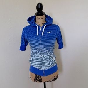 Nike Blue Ombre Hoodie Short Sleeve Jacket Size S